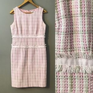 Pink White and Green Tweed Sheath Dress